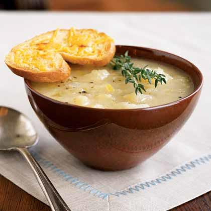 Yukon gold potatoes are the key ingredient to give the soup rich, buttery flavor. This makes a generous amount, so share the bounty with friends or freeze half of the batch for a future meal.Golden Potato-Leek Soup