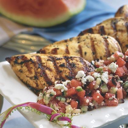 Herb-Grilled Chicken With Watermelon-Feta Salad Recipe   MyRecipes.com