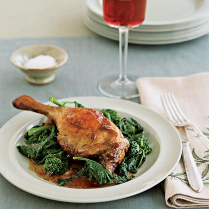 Pinot-Braised Duck with Spicy GreensRecipe
