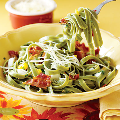 Fettuccine with Bacon and EggsRecipe