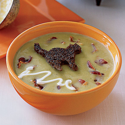 Pea Soup with Black-Cat Croutons
