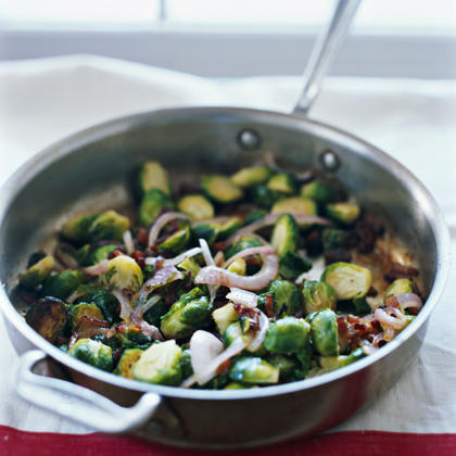"""Sautéed Brussels Sprouts with Bacon and Golden Raisins"""