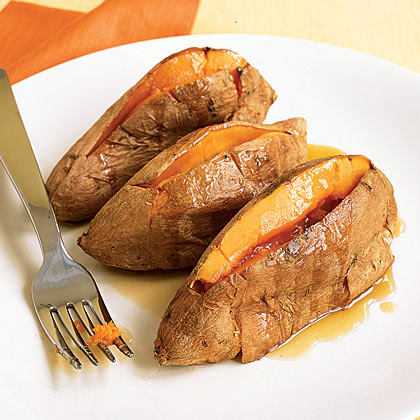 Roasted Sweet Potatoes With Maple Butter RecipePrep: 5 minutes; Cook: 60 minutes. If you don't have enough room in your oven for sweet potatoes while roasting the turkey, cook them in advance and reheat while the turkey is resting.