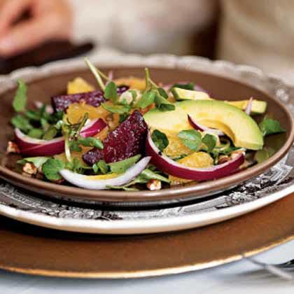 Roasted Beet, Avocado, and Watercress Salad
