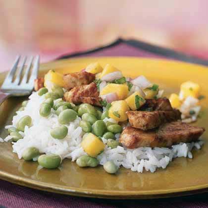 Chicken with Mango Salsa, Edamame, and Coconut Rice Recipe