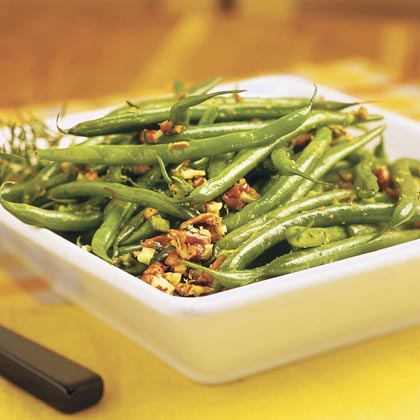 Rosemary Green Beans                            RecipeIncrease both the flavor and texture of your green beans by adding chopped pecans, fresh rosemary and grated lemon rind.