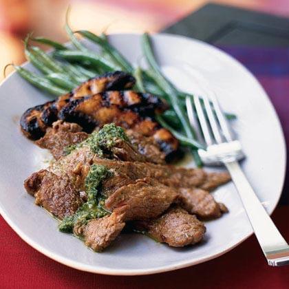 Vietnamese Grilled Steak with Portobellos and Mint-Cilantro Mojo