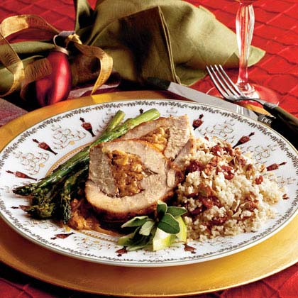 Spiced-and-Stuffed Pork Loin With Cider Sauce Recipe