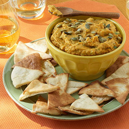 Pumpkin Hummus RecipeThis appetizer recipe offers a holiday-style twist on the traditional Middle Eastern spread. You can find pumpkinseeds--also called pepitas--in groceries and Mexican markets. Prepare this pumpkin hummus recipe up to a day ahead, and refrigerate.