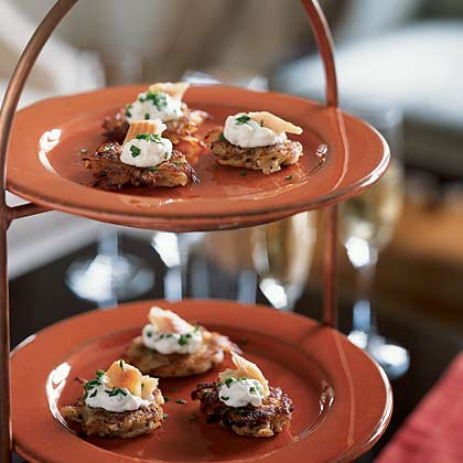 Smoked Trout with Apple-Horseradish Cream on Potato Pancakes