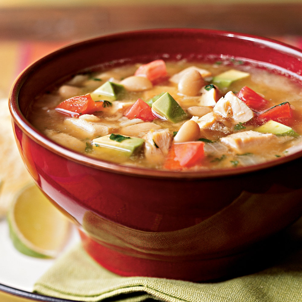 Southwestern Chicken Soup RecipeThis top-rated Southwestern chicken soup is a great way to use up leftover chicken.  The creamy chunks of avocado add a richness that's unusual to find in most chicken soups.