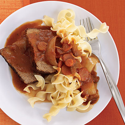 Tuscan Pot Roast RecipeAdd the flavors of Tuscany to your pot roast with plum tomatoes, portobello mushrooms, olive oil, red wine, and oregano.  Maintain the Italian theme by serving the roast over pasta.