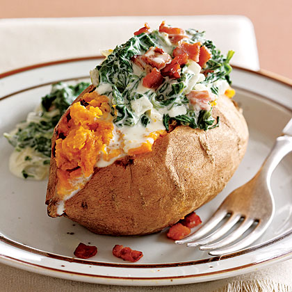 Baked Sweet Potatoes with Creamy Spinach Topping