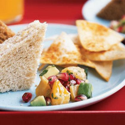 Pomegranate-Avocado Salsa with Spiced Chips Recipe