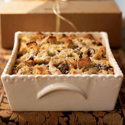 Turkey Mushroom Bread Pudding