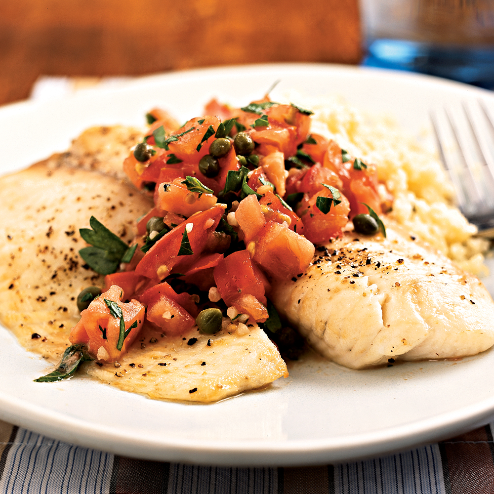 Broiled tilapia with tomato caper salsa recipe myrecipes for Tilapia fish recipes