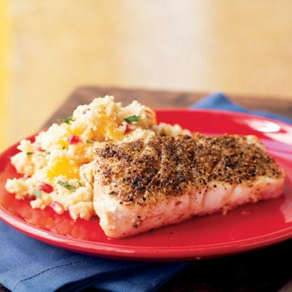 Grilled Grouper with Browned Butter-Orange Couscous Recipe | MyRecipes