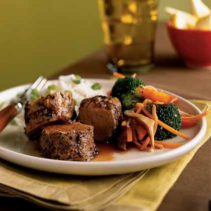 Peppercorn-Crusted Pork Tenderloin with Soy-Caramel Sauce Recipe
