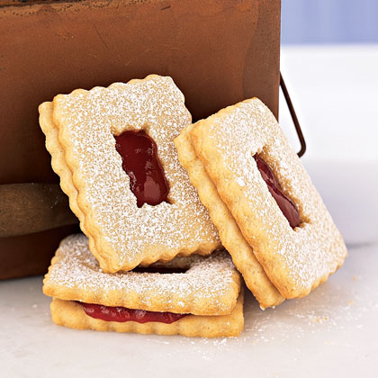 Raspberry Linzer Windowpane Cookies