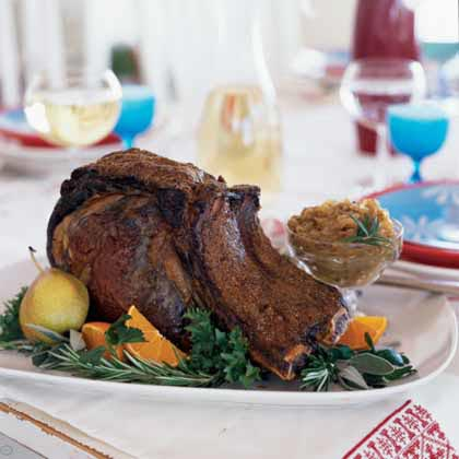 Coriander and Black Pepper-Crusted Rib Roast with Roasted OnionsRecipe