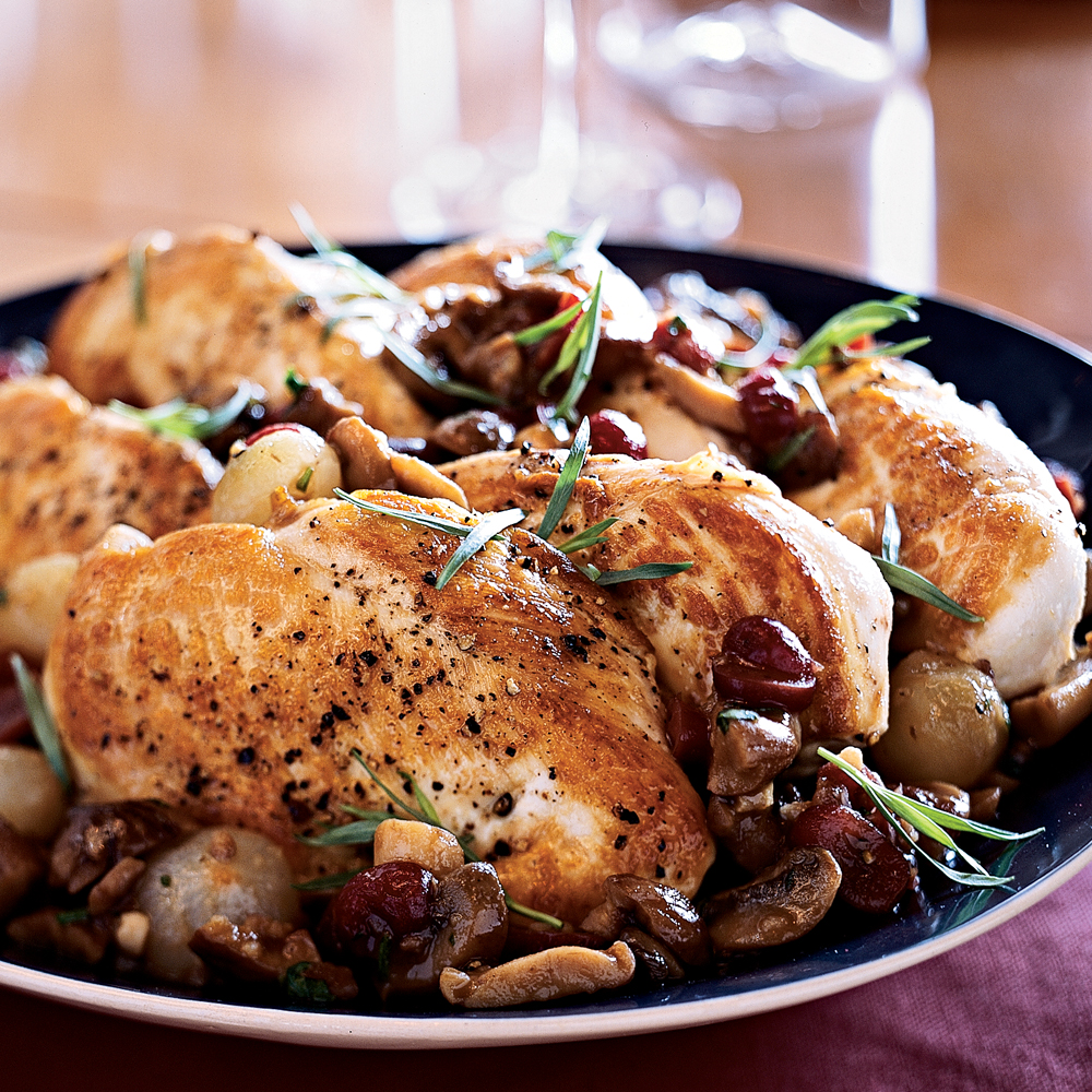 Sweet Vermouth Chicken RecipeGo ahead, invite last-minute company over on a weeknight. This saucy chicken dish with sweet vermouth, fresh tarragon, and dried cranberries, is impressively quick and delicious. Brown the chicken in a skillet, then bake in the oven until done. While the chicken bakes, quickly make the fragrant vermouth sauce and let it simmer while you open a bottle of wine or toss a simple salad.