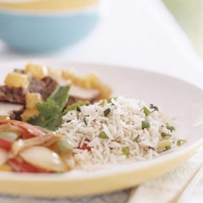 Mint-Cilantro and Coconut Rice