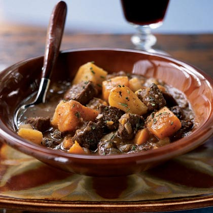 Two-Potato Lamb Stew with Roasted Garlic