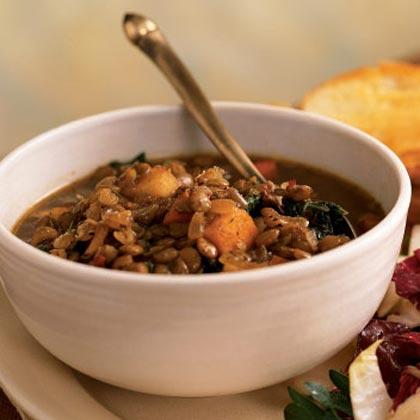 Lentil Soup with Balsamic-Roasted Winter Vegetables
