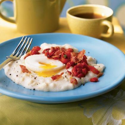 Poached Eggs with White Corn Polenta