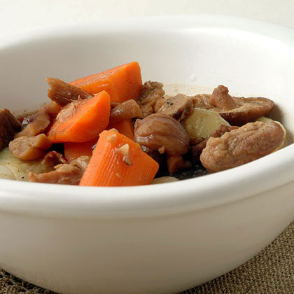 Pork Stew with Cipollini, Mushrooms, and Chestnuts