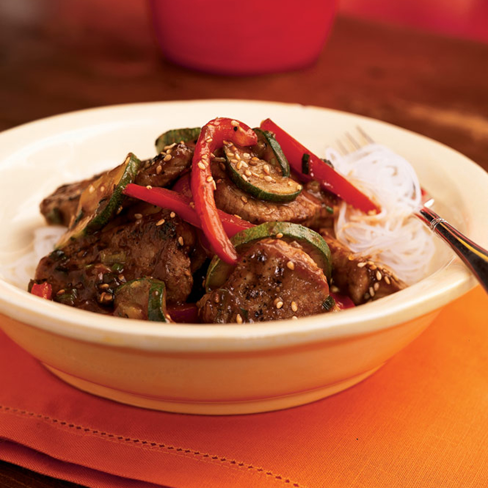 Pork and Stir-Fried Vegetables with Spicy Asian SauceRecipe