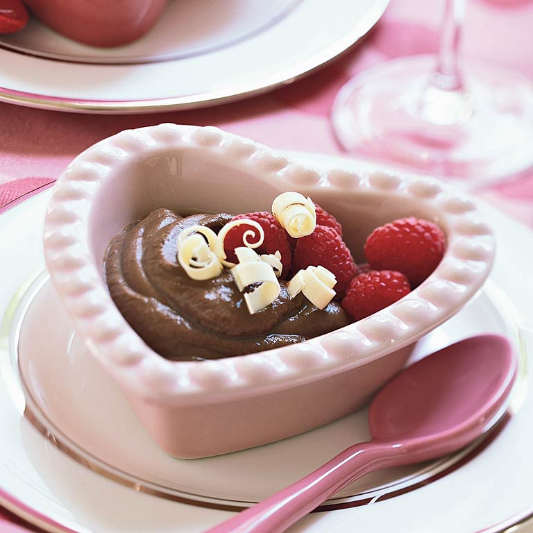 Bittersweet Chocolate Pudding with Raspberries
