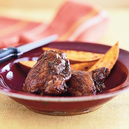 ... chicken entrée braise browned chicken thighs in balsamic vinegar