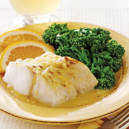 Broiled Halibut with Orange- Shallot Butter Sauce Recipe