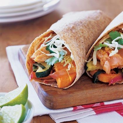 Salmon Burritos with Chile-Roasted VegetablesRecipe