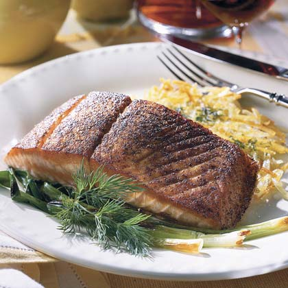 Blackened Salmon With Hash Browns and Green Onions
