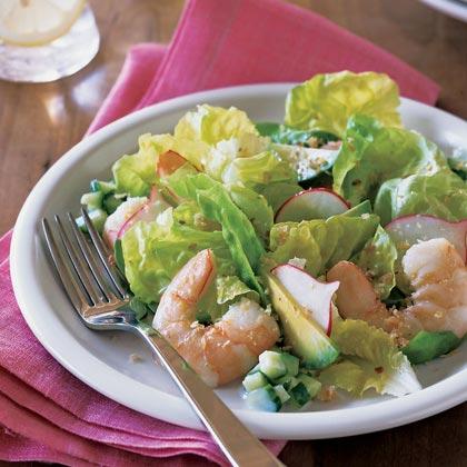 Poached Shrimp and Butter Lettuce Salad with Lemon-Orange Vinaigrette