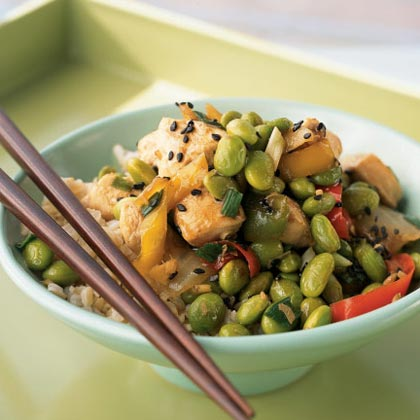 By using frozen stir-fry mixes and frozen shelled edamame, preparation time is kept to a minimum. The slightly sweet and nutty stir-fried vegetables complement the delicately flavored chicken. We suggest serving over udon noodles or rice stick noodles. If you're out of dark sesame seeds, substitute regular.Recipe: Sesame Chicken Edamame Bowl