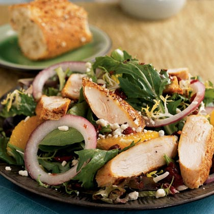 Spiced Chicken and Greens with Pomegranate DressingRecipe