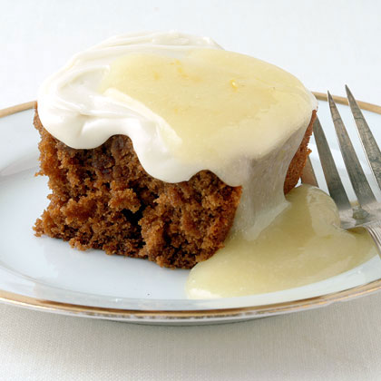 Gingerbread Cake with Cream Cheese Frosting RecipeThis spicy confection is topped with a rich cream cheese frosting. In place of a traditional lemon sauce, a dollop of Lemon Curd adds the finishing touch.