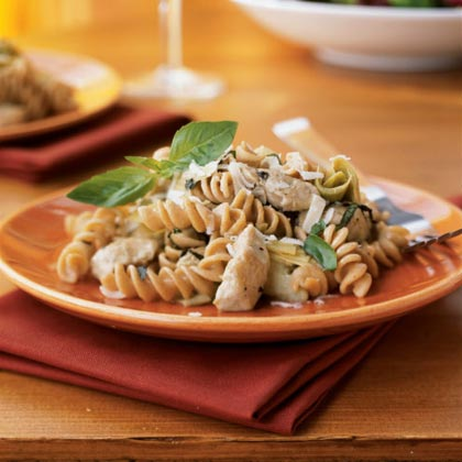 Kamut Spirals with Chicken-Artichoke Wine Sauce Recipe
