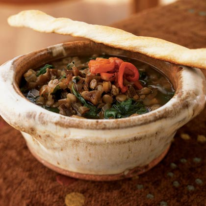 Lentil & Spinach Soup & Roasted Red Pepper & Pomegranate Molasses...