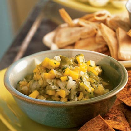 Roasted Tomatillo-Mango Salsa with Spiced Tortilla Chips Recipe