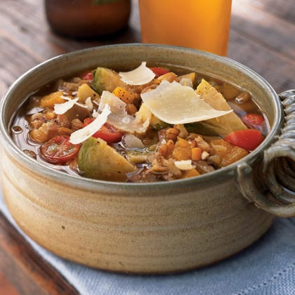 Farro Minestrone with Brussels Sprouts, Butternut Squash, and Chestnuts