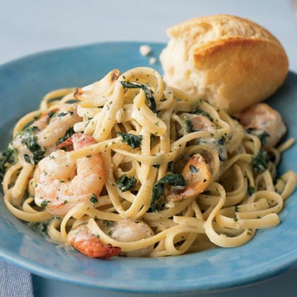 Shrimp Florentine with Caramelized Garlic