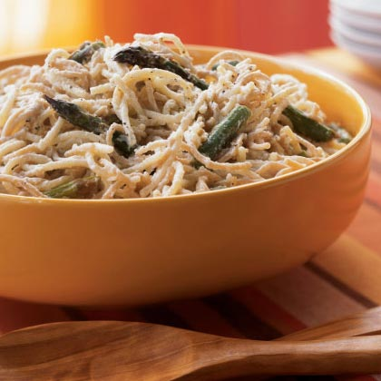 Straw and Hay Alfredo with Roasted AsparagusRecipe