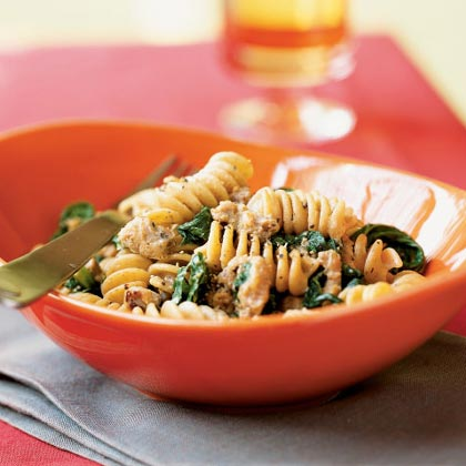 Whole Wheat Blend Rotini with Spicy Turkey Sausage and Mustard Greens Recipe