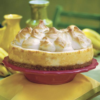 "Uptown Banana Pudding Cheesecake RecipeGrandma's deep-bottom dish won't know what hit it. This banana pudding update calls for coffee liqueur, chopped walnuts, and a stiff meringue. One of our online reviewers crowned it ""the best cheesecake I've ever tasted."""