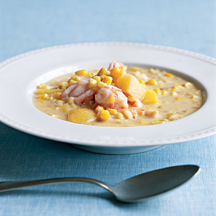 """Coconut, Shrimp, and Corn Chowder"""