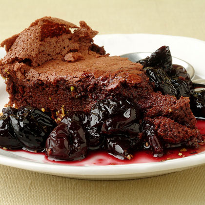 Fallen Chocolate Cake with Cherry Red Wine Sauce Recipe | MyRecipes